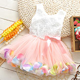 2014 Summer Girls' Dress Girls' Rose Petal Hem Dress Colors Cute Frozen Dress Girls' Baby Dress 2-5 Years