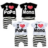 2014 Baby & Kids' Clohting Set Boy Girl T-shirt Short Pant 100% Cotton I Love Mama Papa