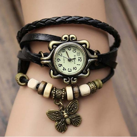 2014 wholesale fashion quartz vintage watch for ladies with real cow strap