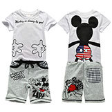 2014 Boy Mickey Set Summer Boy Cotton Short Sleeve T-shirt Tracksuit Pants
