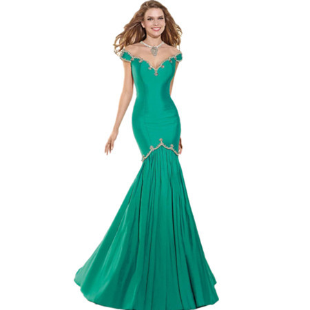 Green Mermaid Ladies Long Evening Party Wear Gown