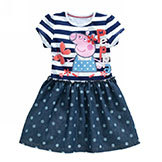 Peppa Pig Girls' Clothes 100% Cotton 2014 Summer Polka Dots Denim Girl Dress 3~7Age Kids' Clothing