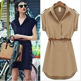5665 2014 Women's Summer Casual Dress Short-Sleeved Large Size Loose Chiffon Party Dresses Vestidos