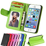 w/ Photo Frame PU Leather Case iPhone 5 5S 4/4S Phong Bag Wallet Style w/ Stand & 2 Card Holder