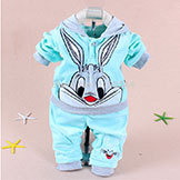 2014 Spring Baby Set Cartoon Rabbit Velvet Set Twinset Long Sleeve Set Hoodie & Pant Kids' Clothing