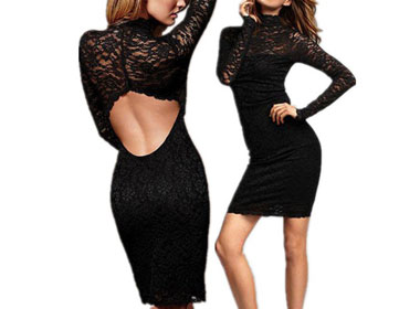 Women's Cocktail Dress w/ Long Sleeve & Stand Collar & Hallow Out & Lace Black