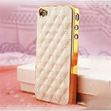 Luxury PU Leather Case iPhone 4/4S 5 5S Soft Grid Pattern Back Skin Cover Yxf Ac259