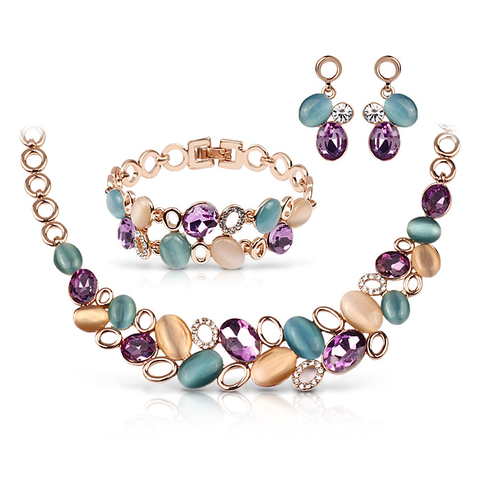 FU976 Europe And American Popular Style Elegant 18K Gold Plated Opal Necklace Bracelet Earrings Jewelry Set