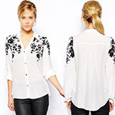 2014 Summer Chiffon Shirt Long-Sleeved Digital Print V-neck Rose Slim Long-Sleeve Gold Button Women's Shirt