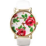 Rose Flower Watch Geneva Vintagewomen Leather Quartz Dress Watches Casual Women's Rhinestone Watch 2014 Fashion