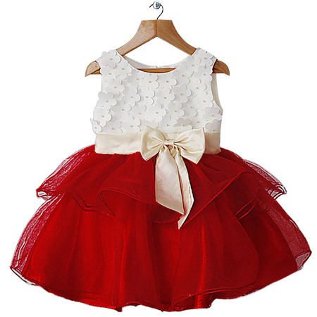 Girl Party Dress White And Red Flower Fashion Kid Dresses