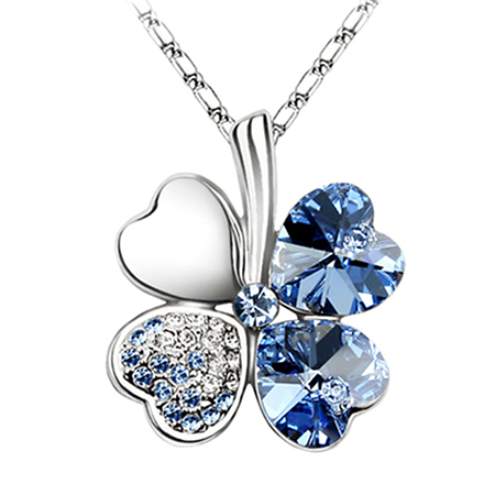 Free Shipping Promotion New Diamond Four-leaf Clover Clavicle Chain Necklace Pendant