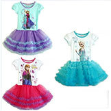 2014 Summer Brand Frozen Girls' Summer Dress Frozen Princess Cotton Dress Anna & Elsa Lace Baby Tutu Dress Kids' Party Wear
