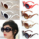 Retro-Inspired Women's Butterfly Clouds Arms Sunglasses Semi Tranparent Round