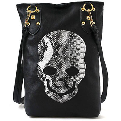 Women's Designer Handbag w/ Skull Print PU Leather