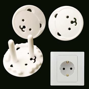 5 pçs/lote Euro padrão urso crianças segurança elétrica tomada de proteção tampa de cobertura duas fases bebê crianças segurança de produtos
